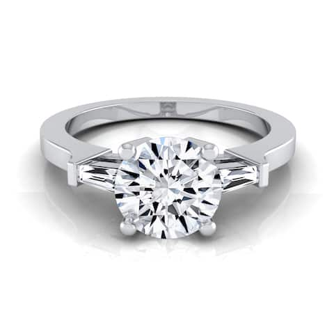 14k White Gold 3/4ct TDW White Diamond Tapered Baguette Side Stone Engagement Ring
