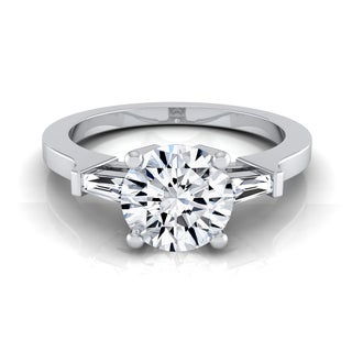 14k White Gold 3/4ct TDW White Diamond Tapered Baguette Side Stone Engagement Ring