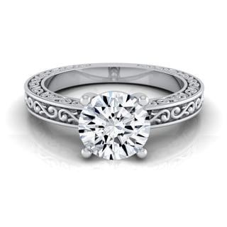 14k White Gold 1/2ct Round Diamond Solitaire Scroll Detail Shank Engagement Ring (H-I, VS1-VS2)