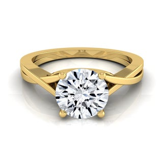 14k Yellow Gold 1/2ct TDW White Diamond Solitaire Cathedral Setting Engagement Ring (H-I, VS1-VS2)