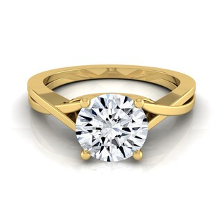 14k Yellow Gold 1/2ct TDW White Diamond Solitaire Cathedral Setting Engagement Ring