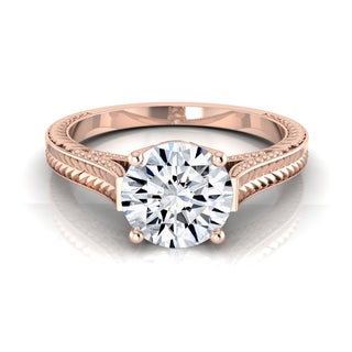 14k Rose Gold 1/2ct TDW White Diamond Millgrain Finish Engagement Ring