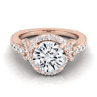 14k Rose Gold 1 1/0ct TDW White Diamond Love Knot Shank Engagement Ring (H-I, VS1-VS2)