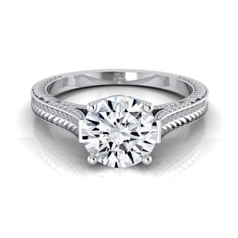 14k White Gold 1/2ct TDW White Diamond Millgrain Finish Engagement Ring