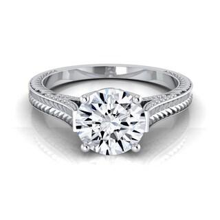 14k White Gold 1/2ct TDW White Diamond Millgrain Finish Engagement Ring (H-I, VS1-VS2)