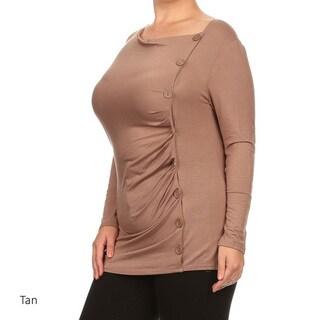Plus Size Women's Button Trim Rayon/Spandex Tunic