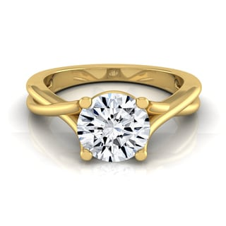 14k Yellow Gold 1/2ct TDW White Diamond Trellis Basket Solitaire Engagement Ring