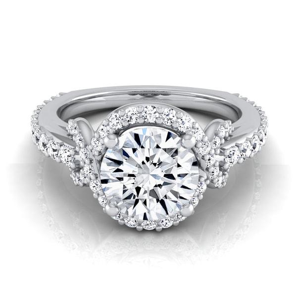 14k white gold 1 1 10ctw tdw white diamond love knot shank