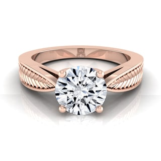 14k Rose Gold 1/2 Ct Round Diamond Leaf Texture Design Engagement Ring With (H-I, VS1-VS2)