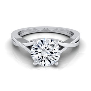 14k White Gold 1/2ctw TDW White Diamond Solitaire Cathedral Engagement Ring