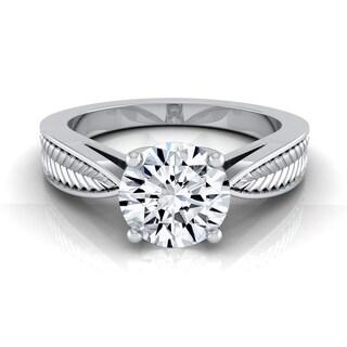 14k White Gold 1/2ct TDW Round Diamond Leaf Texture Design Engagement Ring (H-I, VS1-VS2)