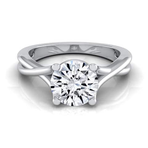 14k White Gold 1/2ct TDW White Diamond Trellis Basket Solitaire Engagement Ring