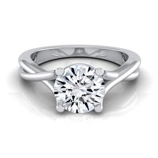 14k White Gold 1/2ct TDW White Diamond Trellis Basket Solitaire Engagement Ring (H-I, VS1-VS2)