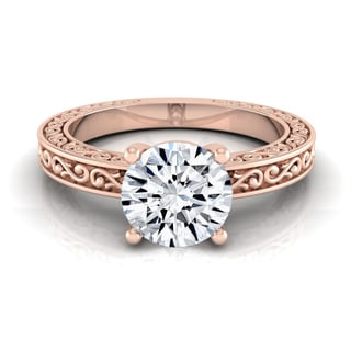 14k Rose Gold 1/2ct TDW White Diamond Scroll Detail Solitaire Engagement Ring