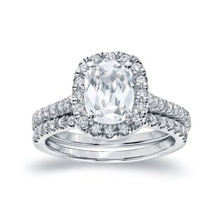 Auriya 14k Gold 2ct TDW Certified Cushion Cut Diamond Bridal Ring Set