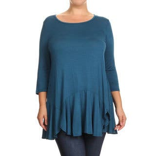 Women's Solid Rayon and Spandex Plus-size Ruffled Tunic|https://ak1.ostkcdn.com/images/products/13220270/P19938267.jpg?impolicy=medium