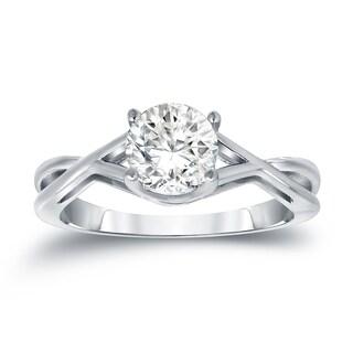 Auriya Platinum 1ct TDW Round Cut Diamond Solitaire Engagemet Ring (H-I, I1-I2)