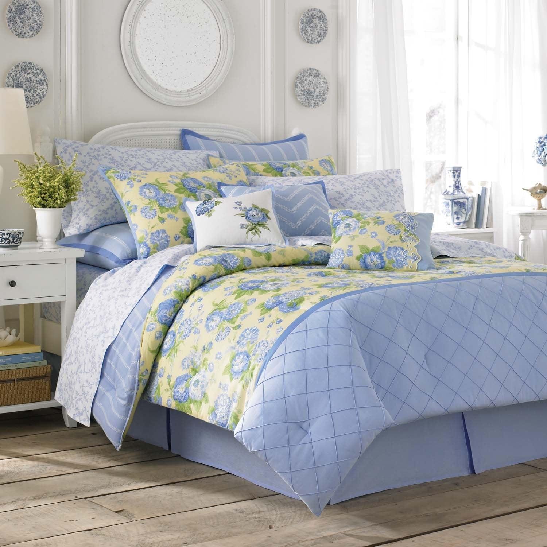 Laura Ashley Salisbury Blue Yellow Floral Comforter Set Overstock 13220288