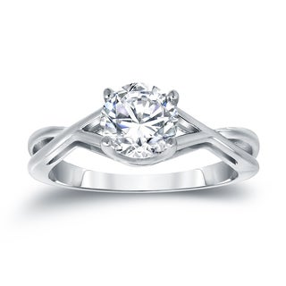 Auriya Platinum 1 1/4ct TDW Round Cut Diamond Solitaire Engagemet Ring