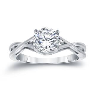 auriya platinum 1 14ct tdw round cut diamond solitaire engagemet ring - Platinum Wedding Rings