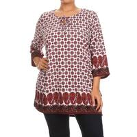 Plus Size Women's Neck Tie Pattern Polyester Top