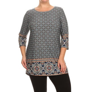 Polyester and Spandex Plus-size Pattern Print Tunic
