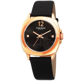 Akribos XXIV Women's Quartz Diamond Black Leather Strap Watch with FREE GIFT (Option: Black)|https://ak1.ostkcdn.com/images/products/13221241/P19939001.jpg?impolicy=medium
