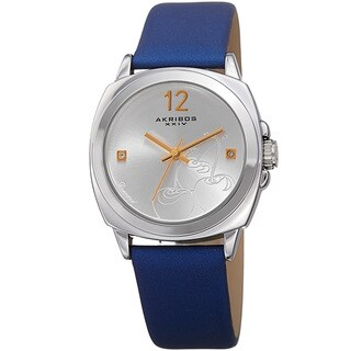 Akribos XXIV Women's Quartz Diamond Blue Leather Strap Watch with FREE Bangle