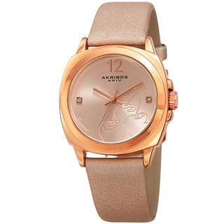Akribos XXIV Women's Quartz Diamond Pink Leather Strap Watch