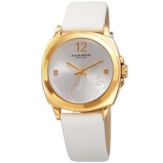 Akribos XXIV Women's Quartz Diamond Cherry Leather Strap Watch with FREE Bangle