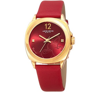 Akribos XXIV Women's Quartz Diamond Cherry Leather Strap Watch with GIFT BOX