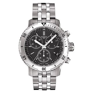 Tissot Men's T0674171105101 PRS 200 Black Dial Stainless Steel Chronograph Watch