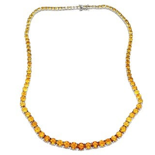 Sterling Silver 37.5 carats Yellow Citrine Graduated Necklace - Black