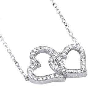 Beverly Hills Charm Sterling Silver 1/5ct. TDW Diamond Double Heart Necklace (H-I, SI2-I1)