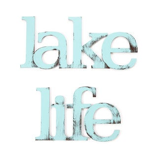 Letter2Word Handpainted 'Lake Life' Blue Dimensional Wall Decor