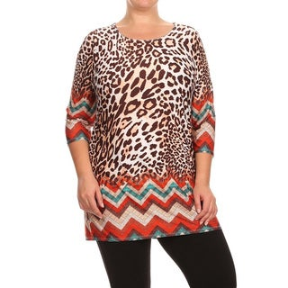 Women's Multicolored Polyester and Spandex Plus-size Leopard Chevron Top