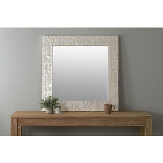 East At Main's Capanna Off-White Square Natural Shell - Capiz Wall Mirror