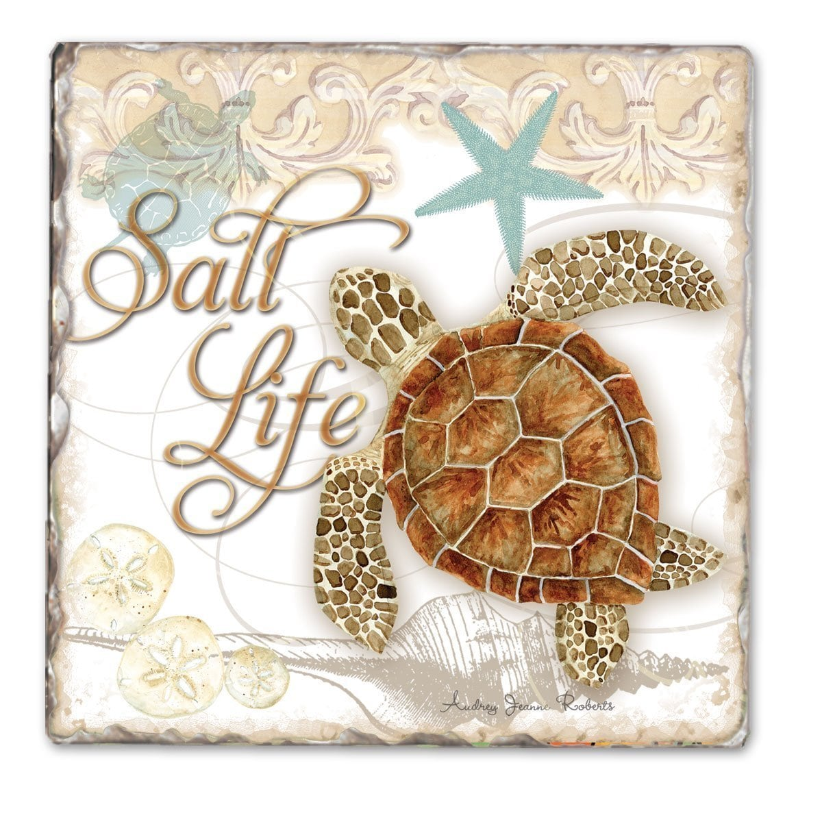 Counterart Beach Life Sea Turtles Absorbent Stone Tumbled Tile Coaster Set Of 4 4x6 Overstock 13221756