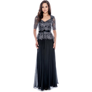 Decode 1.8 Women's Shimmer Belted Evening Gown Size 12 in Black (As Is Item)