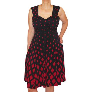 Funfash Plus Size Clothing Women's Red Black Diamond Cruise Cocktail Dress