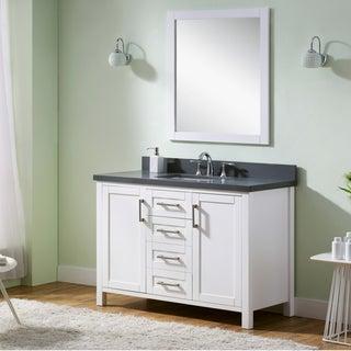 Infurniture White Wood Grey Quartz Marble Top Single-sink Bathroom Vanity