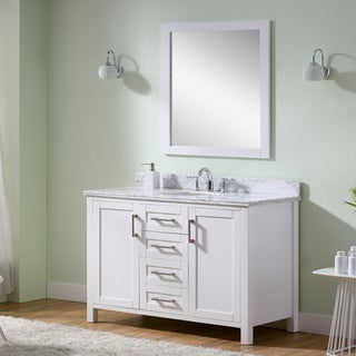 Infurniture Contemporary Style Carrara White Marble Top Single Sink Bathroom Vanity in White with Matching Wall Mirror
