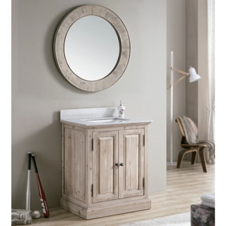 Infurniture Rustic Carrara White Marble Top 31-inch Single Sink Bathroom Vanity With Matching Wall Mirror