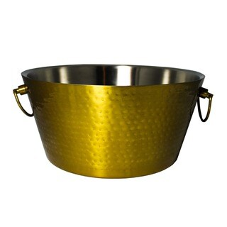 BREKX Golden Anchored Double Walled Hammered Steel Beverage Tub, 100% Insulated