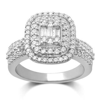 Unending Love 14k White Gold 1ct TDW Diamond Engagement Ring (IJ, I1-I2)