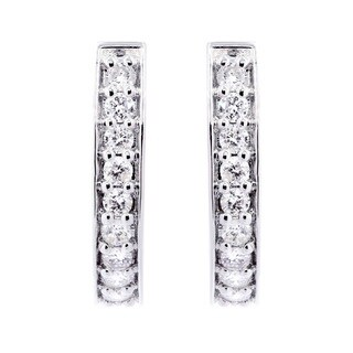 14K White Gold 1 1/10ct TDW Diamond Hoop Earrings
