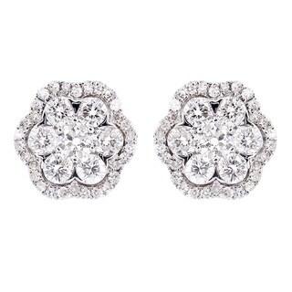 14K Yellow Gold 1 2/5ct TDW Diamond Flower Stud Earrings