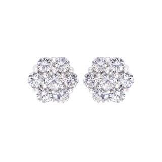 10K White Gold 1.08ct TDW Diamond Flower Stud Earrings (H-I, I2-I3)
