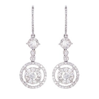 18K White Gold 1 1/2ct TDW Diamond Dangle Earrings