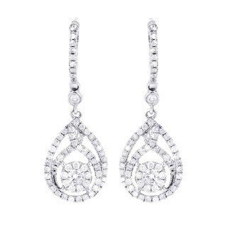 14K White Gold 1 1/3ct TDW Diamond Drop Shaped Dangle Earrings
